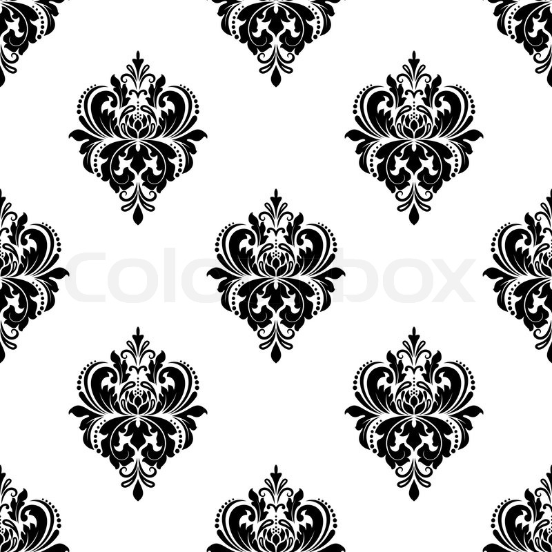 seamless black and white floral arabesque pattern with. Black Bedroom Furniture Sets. Home Design Ideas