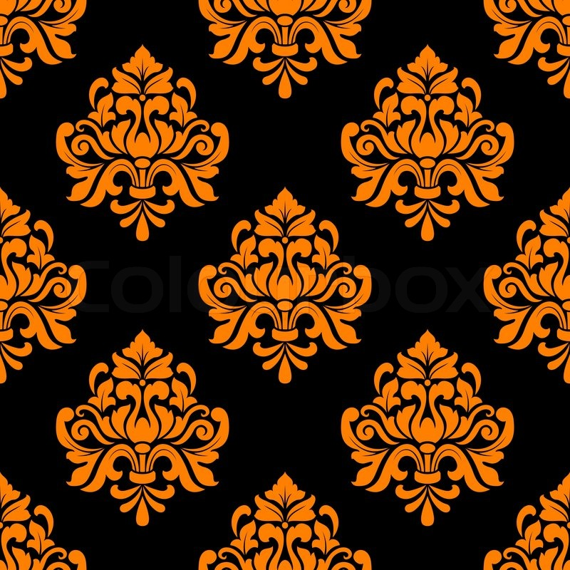 Black And Orange Seamless Floral Pattern In Damask Style