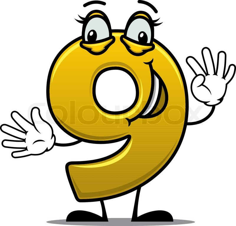 happy gold number 9 character standing smiling and waving suitable