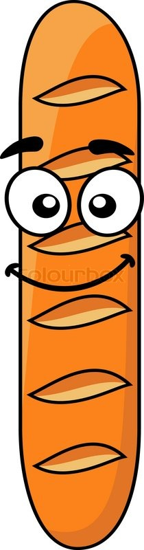 Happy crusty brown cartoon French baguette standing ...