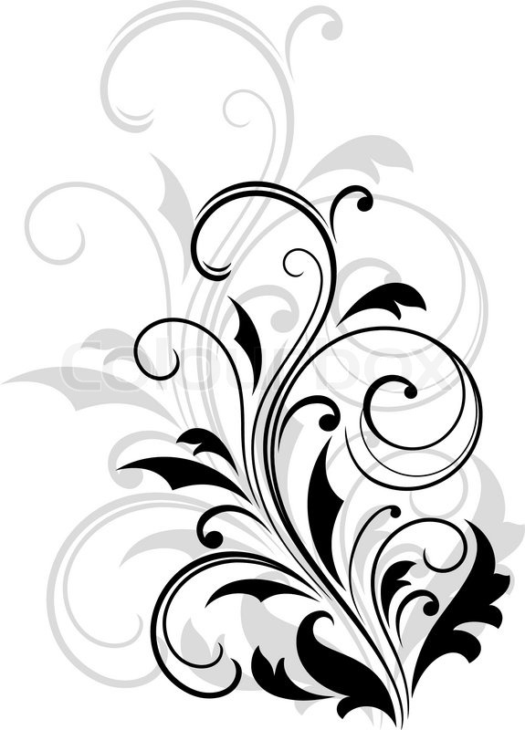 Dainty scrolling black and white floral element with a repeat enlarged design in grey behind it for an elegant vintage effect vector illustration stock