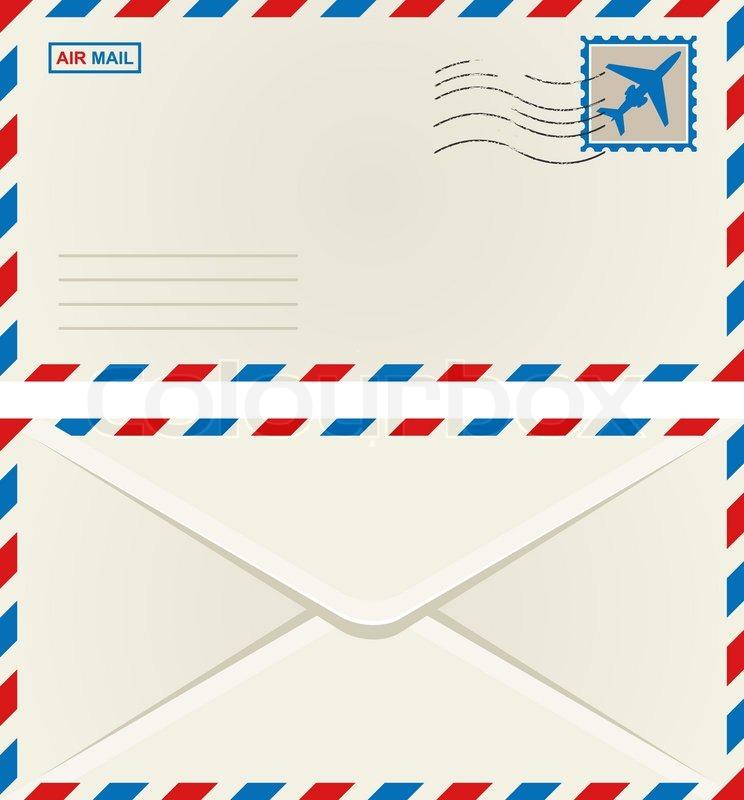 Briefumschlag Beschriften Luftpost : Vorder und rückseite der briefumschlag luftpost