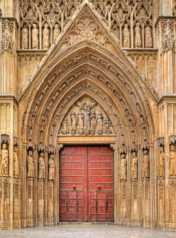 Wooden Door Apostles Gate Surrounded Stock Photo