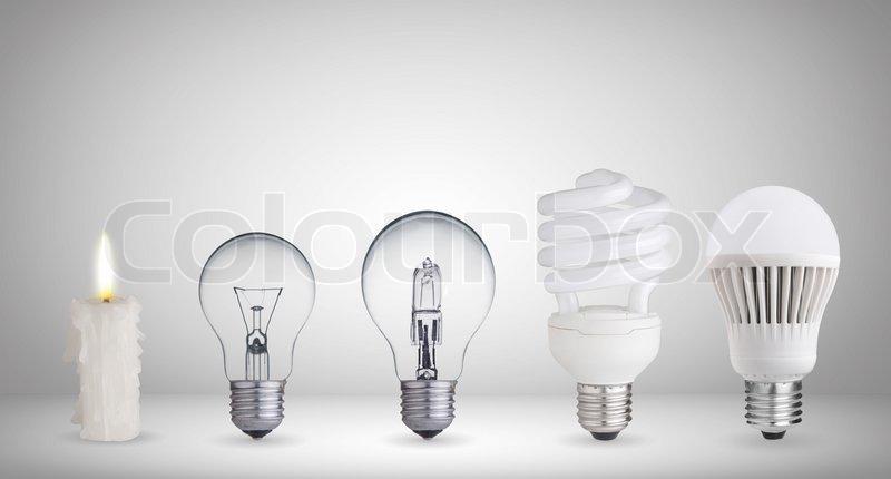 Kerze, Halogen-Glühlampe, Leuchtstofflampe, Halogen und LED Lampe ...