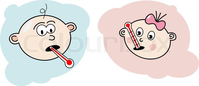 Krankes Baby Vektorgrafik Colourbox