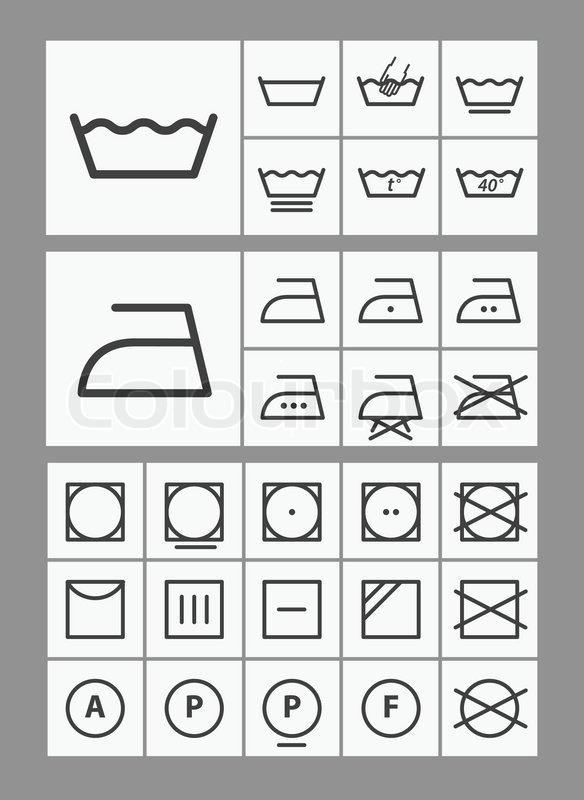 Waschmaschine Anleitung Symbole Vektorgrafik Colourbox