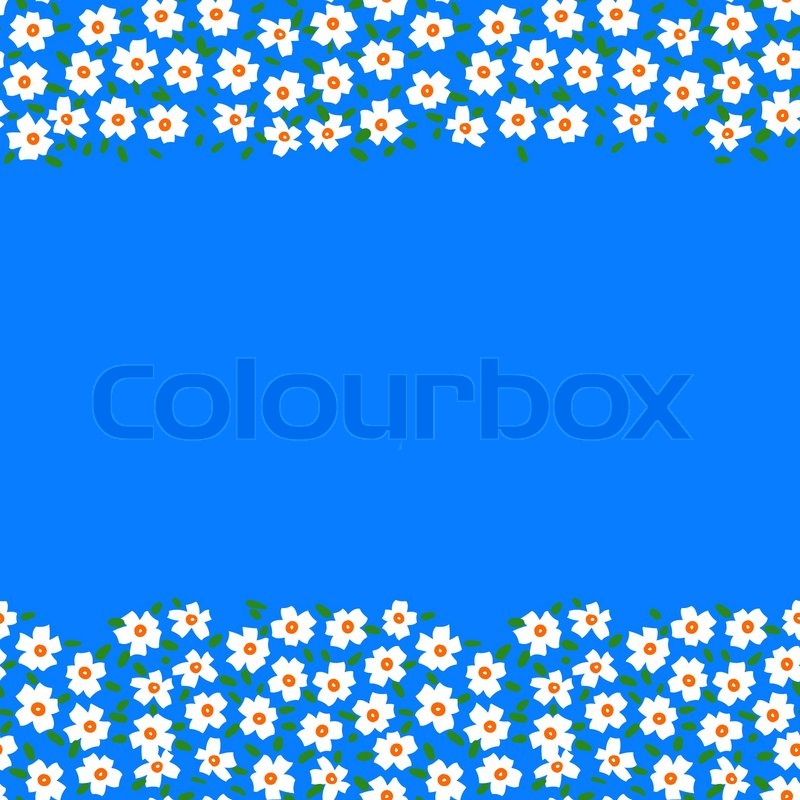 Vector card with floral seamless frame \\ border made of small white flowers and copyspace on ...