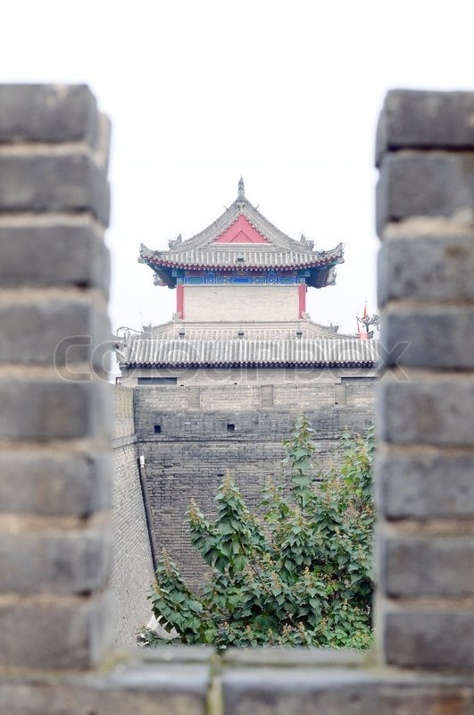 Landmark of the famous ancient city wall in Xian, China, stock photo