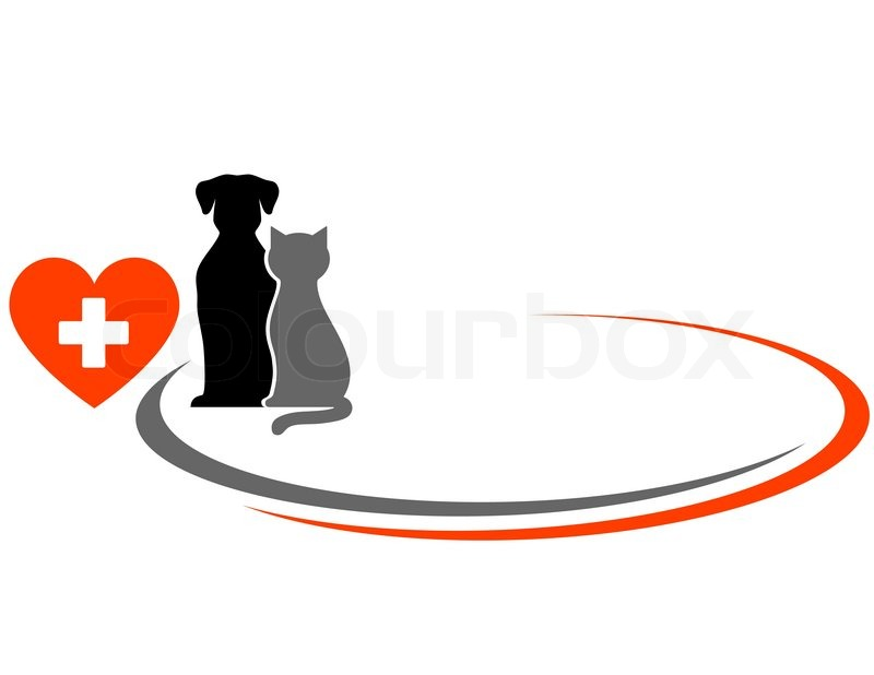 veterinarian background with animals and red heart stock