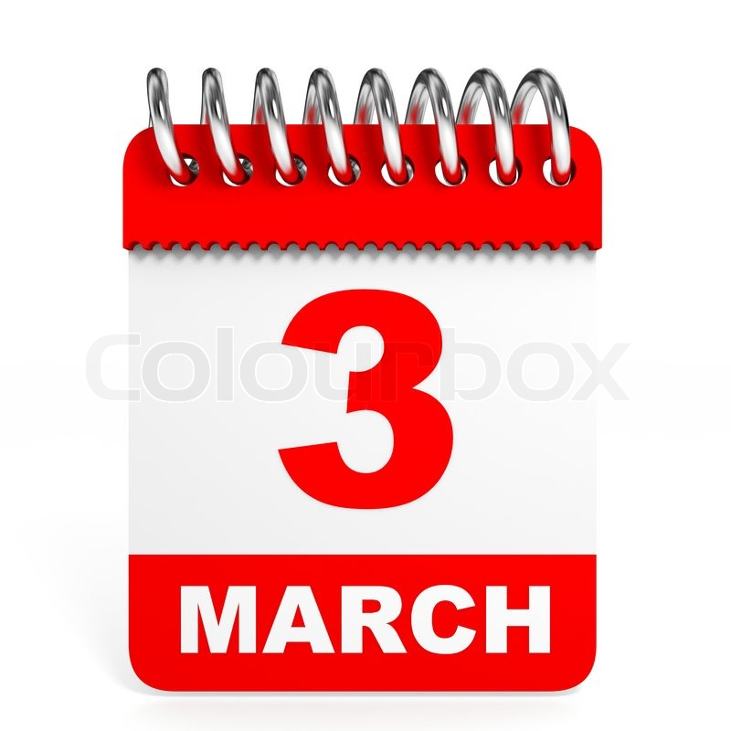 Calendar On White Background 3 March Stock Photo Colourbox