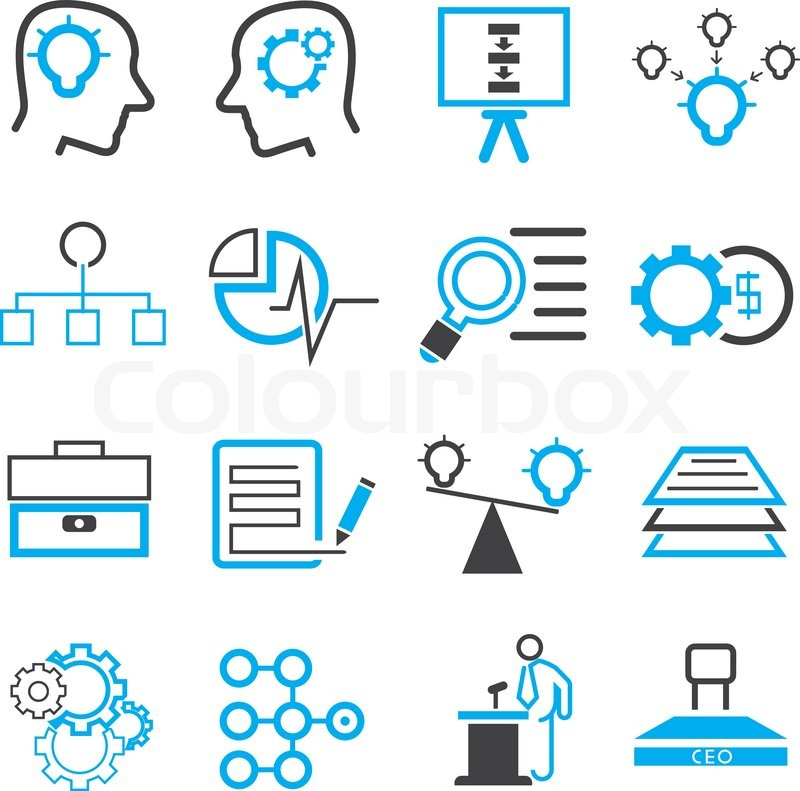 business solution icons blue theme stock vector colourbox