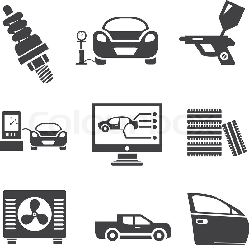 garage icons automotive service icons stock vector colourbox