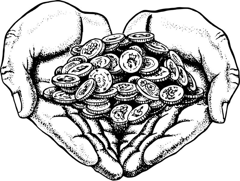 hand drawn sketch vector illustration of pile of coins