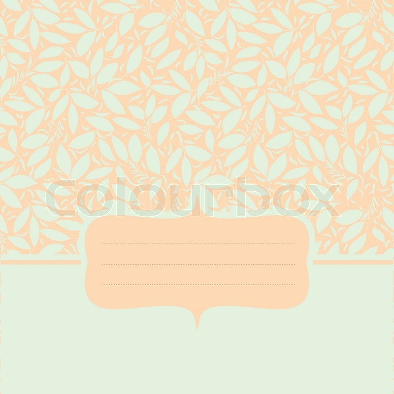 Card With Plant Otnament Pastel Mint Stock Vector Colourbox