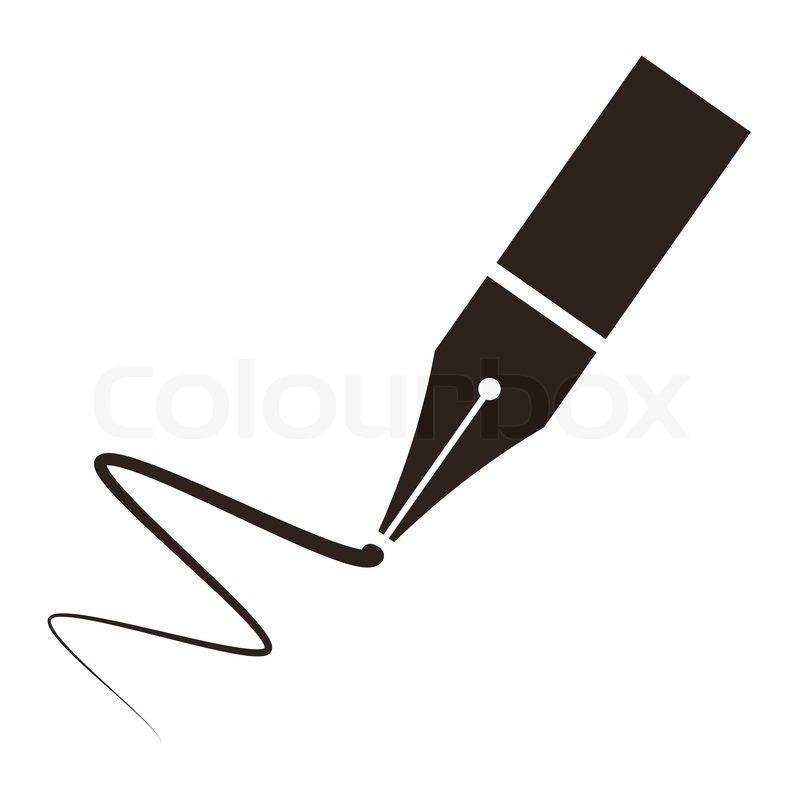 symbol eines f252llfederhalter und signatur vektorgrafik