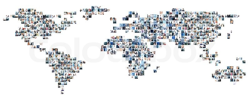 Collage of different business pictures collected as world map stock image of collage of different business pictures collected as world map finance gumiabroncs Gallery
