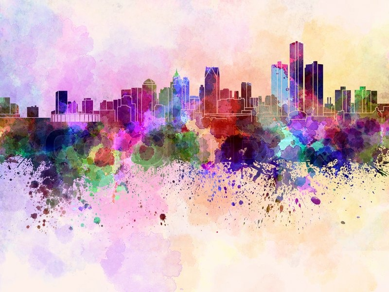 Detroit Skyline In Watercolor Stock Image Colourbox
