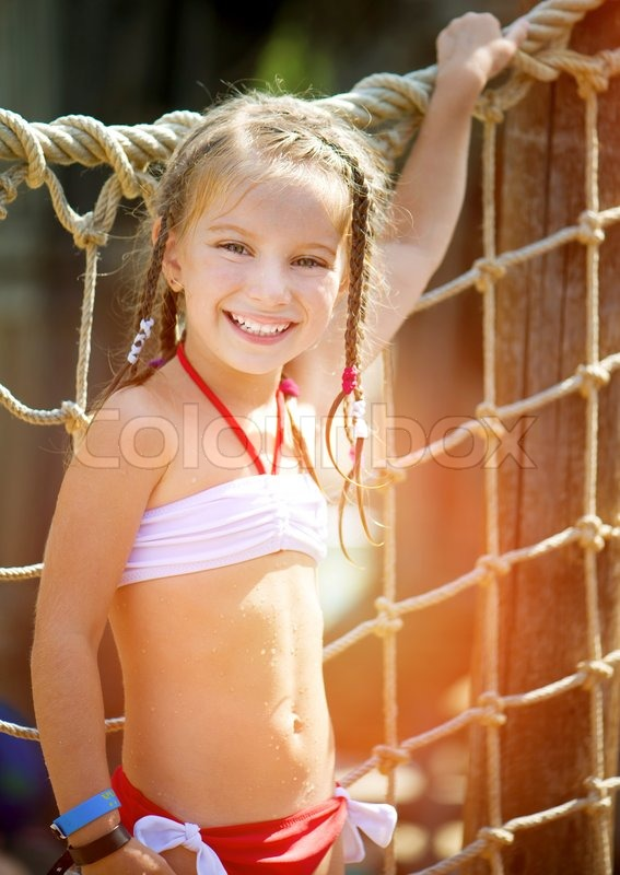 Portrait Of A Little Girl Aquapark   Stock Photo -7620