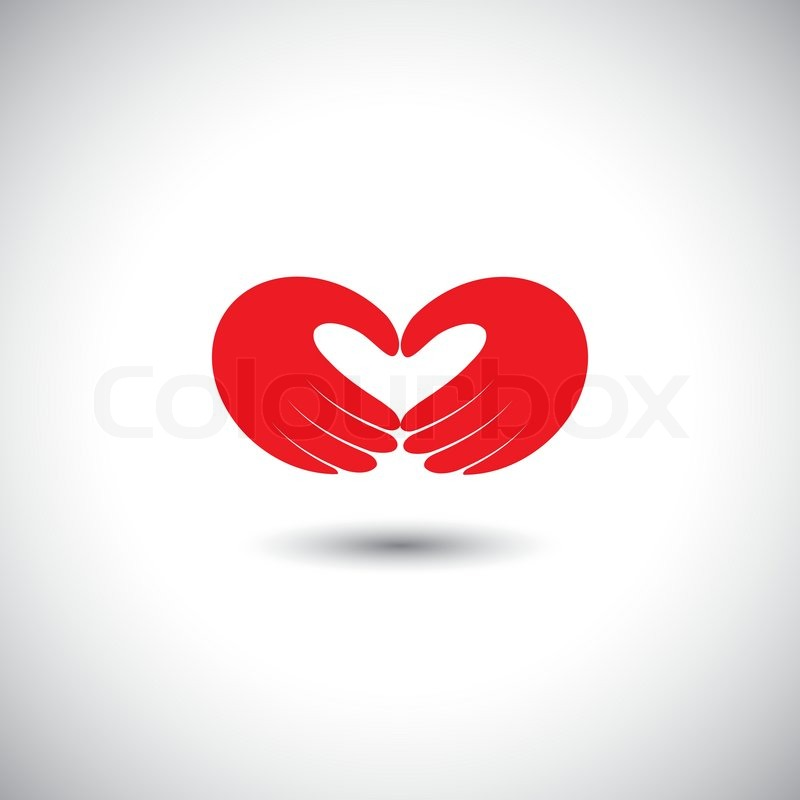 Hands forming heart symbol - couple in love concept vector. This ...