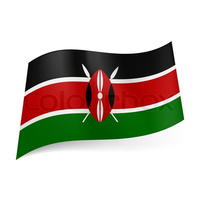National Flag Of Kenya Black Red And Green Horizontal Stripes With