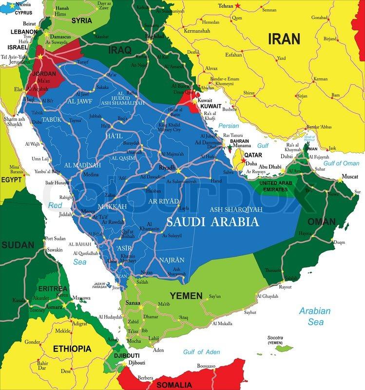 arabien karte Saudi Arabien Karte | Vektorgrafik | Colourbox arabien karte