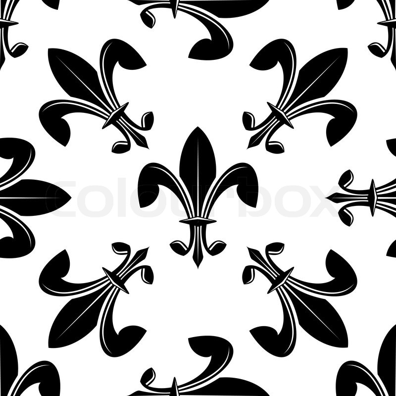 seamless fleur de lys pattern in black and white with the motifs