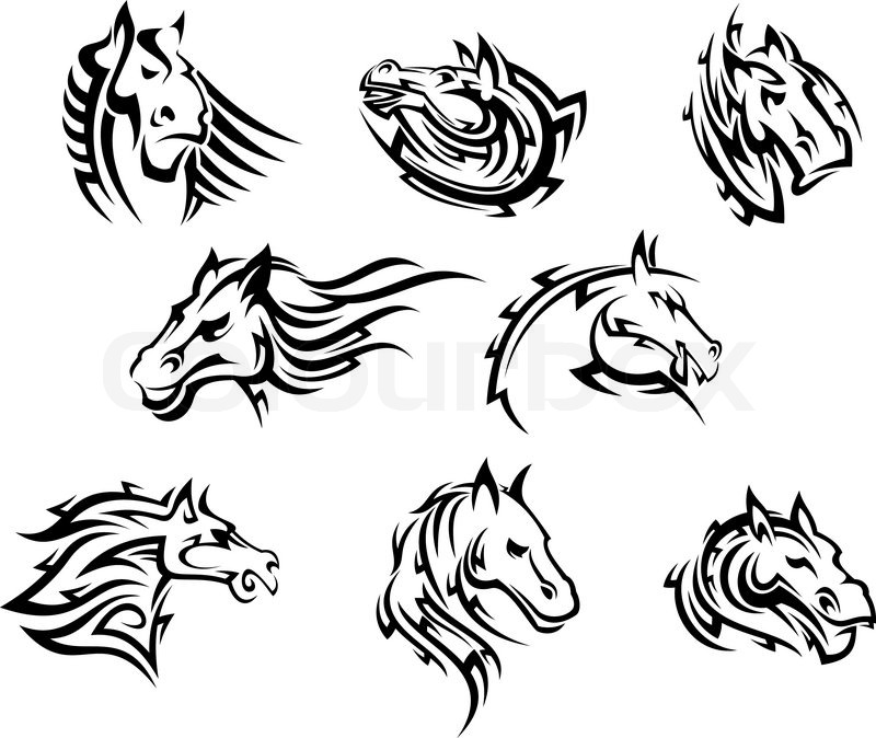 collection of eight different horse tribal tattoos designs in black and white vector colourbox. Black Bedroom Furniture Sets. Home Design Ideas