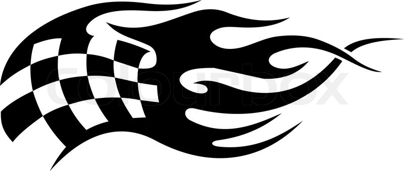Flaming schwarz wei karierte flagge tattoo stock vektor for Black and white flame tattoo