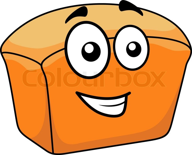 loaf of freshly baked crusty white bread with a happy cartoon face rh colourbox com sesame street loaf of bread cartoon cartoon image of loaf of bread