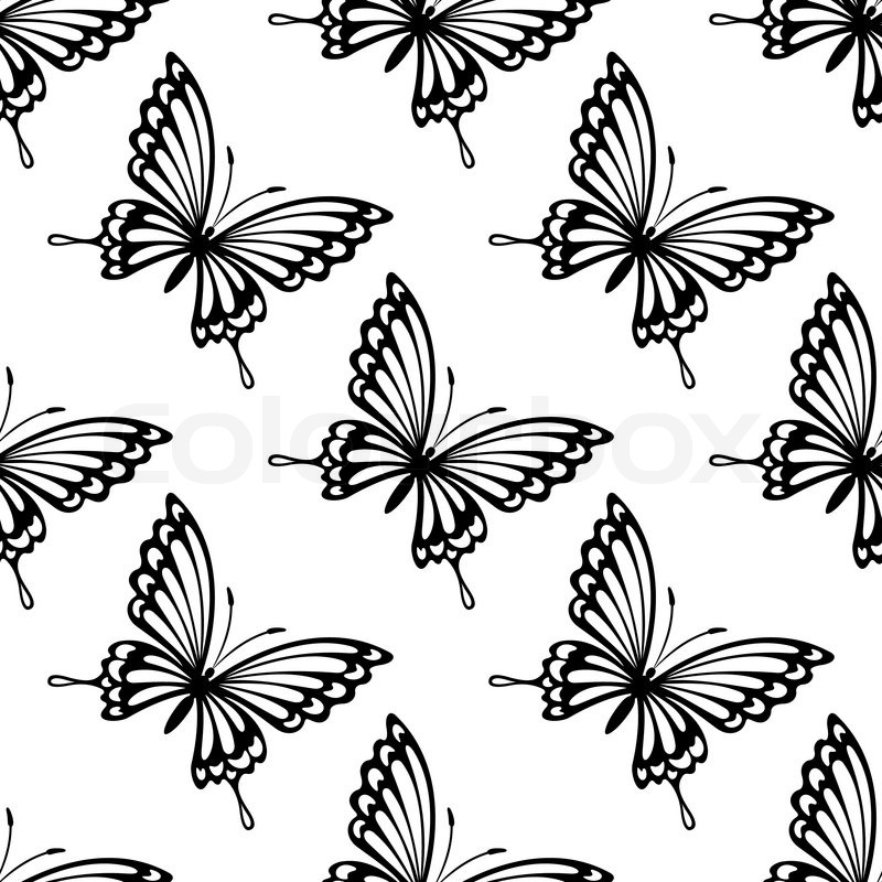 Dainty Black And White Seamless Pattern Of Flying Butterflies In Square Format For Wallpaper Tile Or Textilesvector Illustration Isolated On