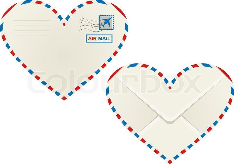 Herzförmige Herz Luftpost Umschlag | Vektorgrafik | Colourbox