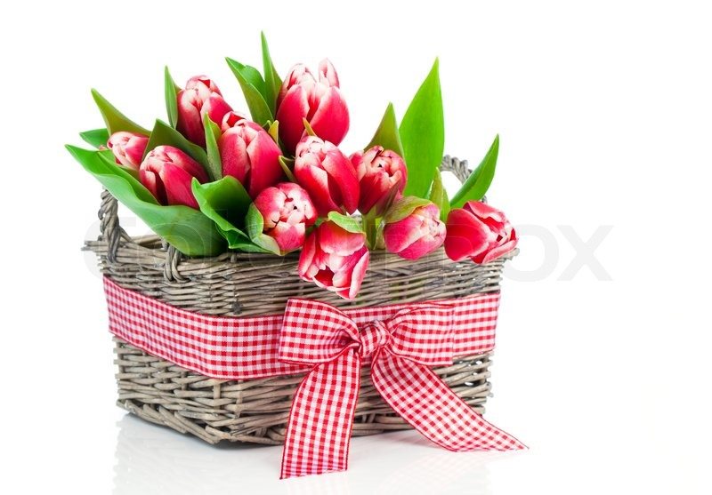 Spring Tulips In Wooden Basket On Stock Photo