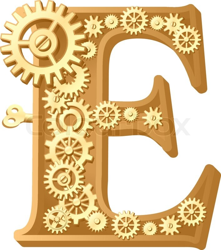 Mechanical alphabet made from gears letter e stock vector colourbox thecheapjerseys Choice Image