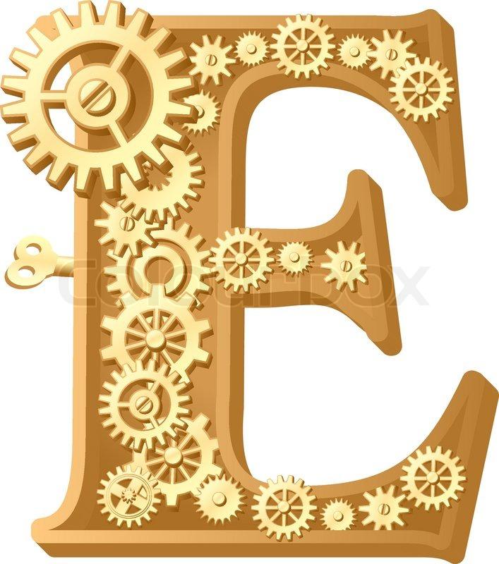 Mechanical alphabet made from gears letter e stock vector colourbox altavistaventures Images