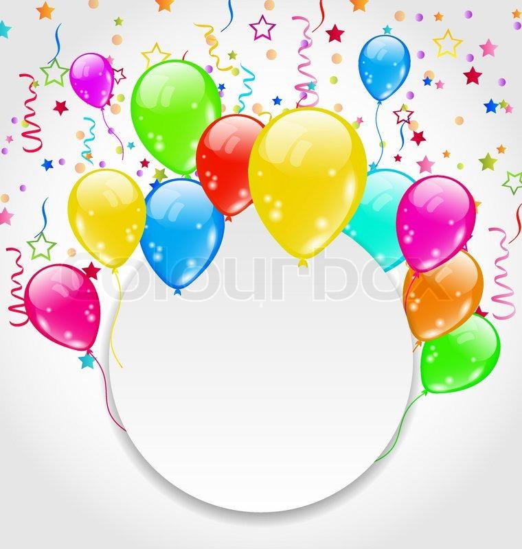 einladung geburtstag mit bunten luftballons und confett, Einladung