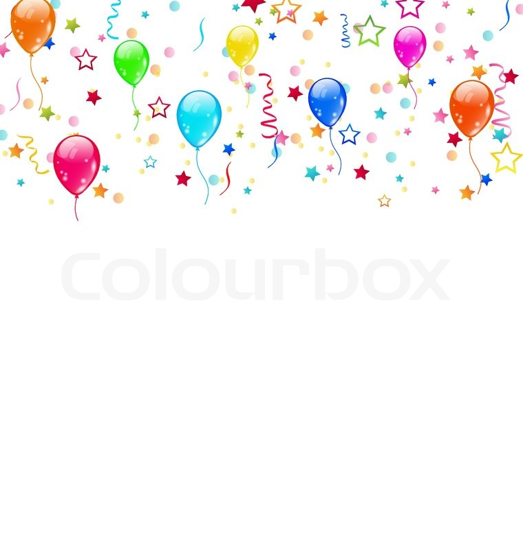 set party-ballons, konfetti mit platz für text | vektorgrafik, Einladungen