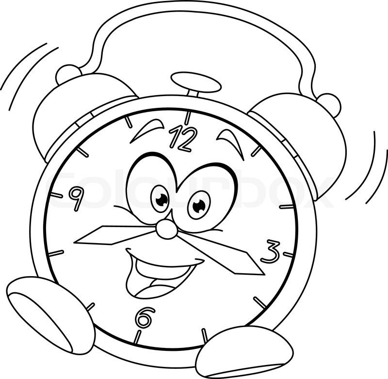 outlined cartoon alarm clock vector illustration coloring page stock vector colourbox
