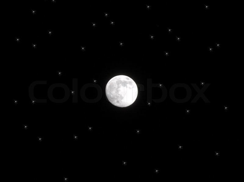Full moon among stars. Moon is real (photo), stars are photoshop rendered, stock photo