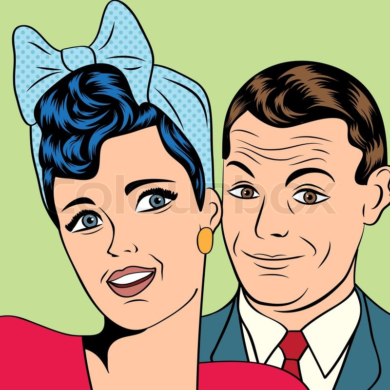 Mann und Frau in Liebe Pop-Art-comic-Stil, Vektor