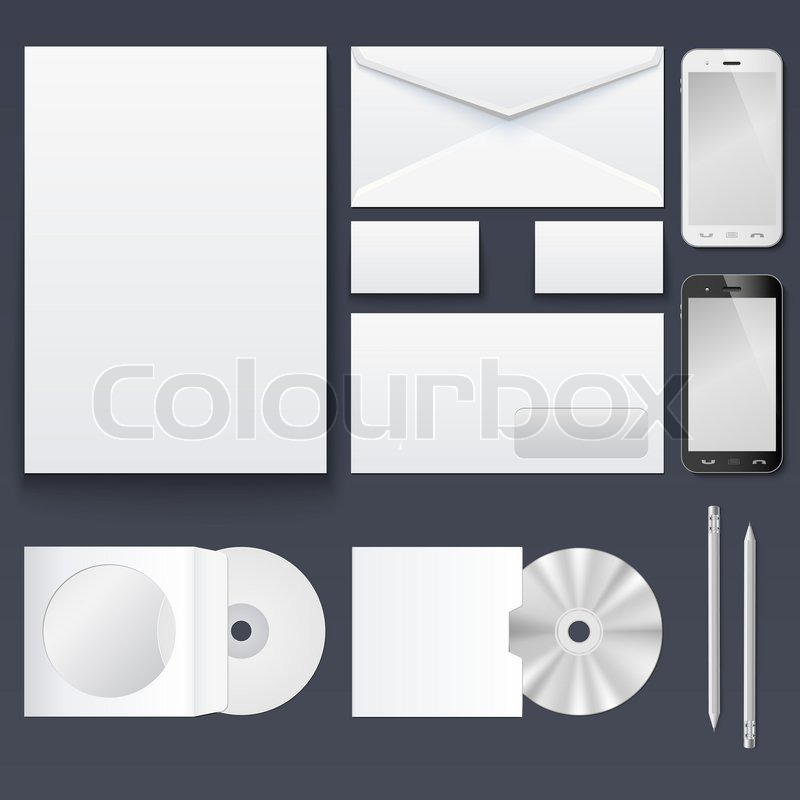 Corporate identity templates blank business cards disk envelope corporate identity templates blank business cards disk envelope smart phone pen isolated with soft shadows stock photo reheart Gallery