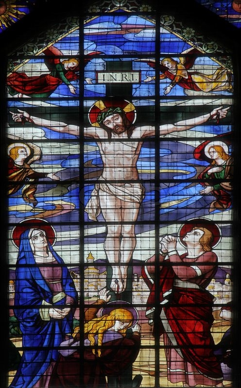 Crucifixion Jesus On The Cross Stained Glass Window From Saint Jean De Montmartre Church Paris