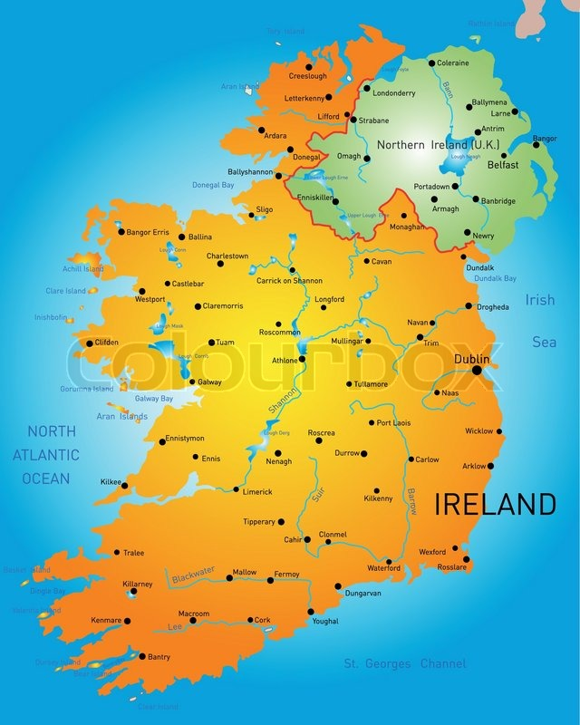 Detailed Map Of Ireland.Vector Detailed Map Of Ireland Country Stock Vector Colourbox