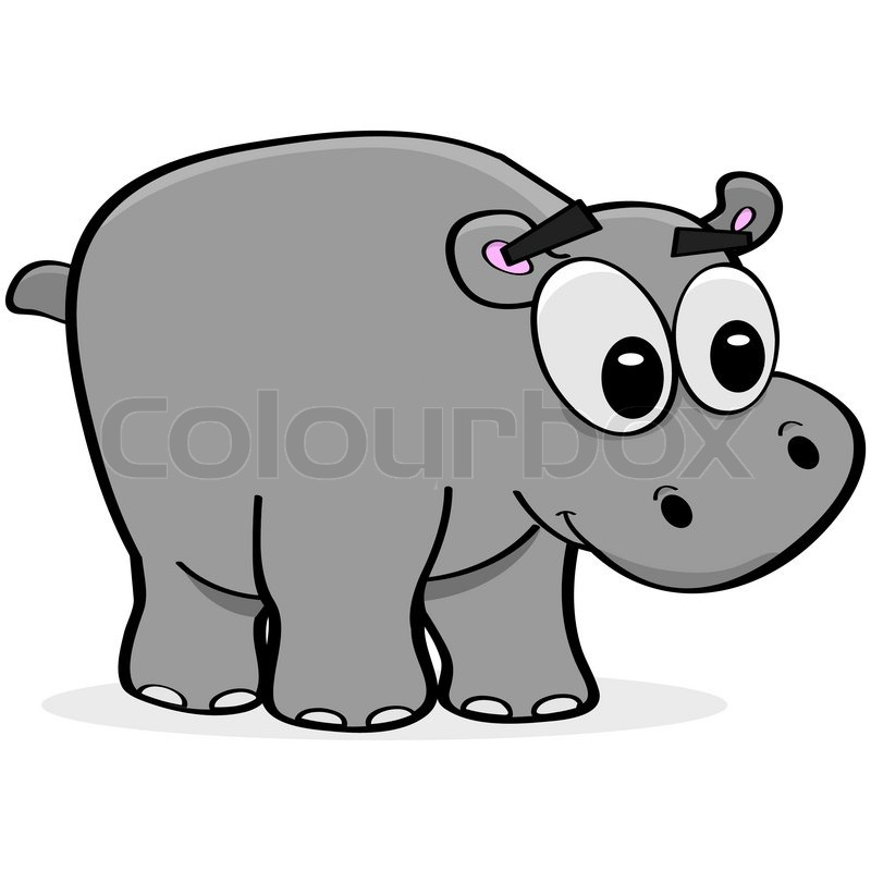 Line Art Hippo : Cartoon illustration of a happy hippo looking right