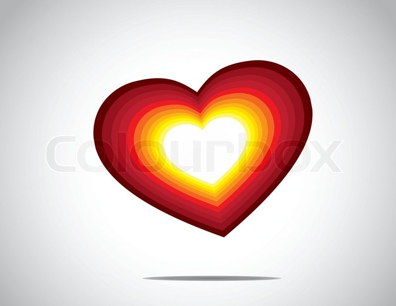 Bright Yellow Red Colorful Gradient Heart Shape Love Symbol Icon