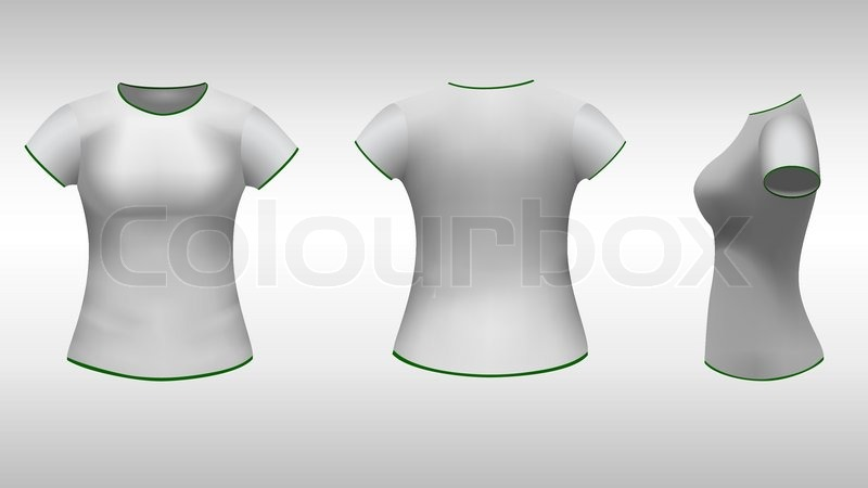 Ladies t-shirt with short sleeves design template (front, back, side ...