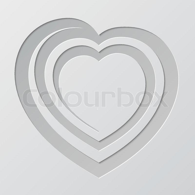 Spirale Herz aus Papier geschnitten | Vektorgrafik | Colourbox