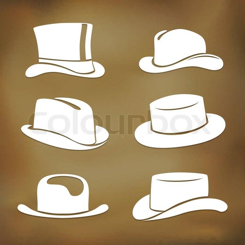 Klassische Herren-Hut-Silhouetten | Vektorgrafik | Colourbox