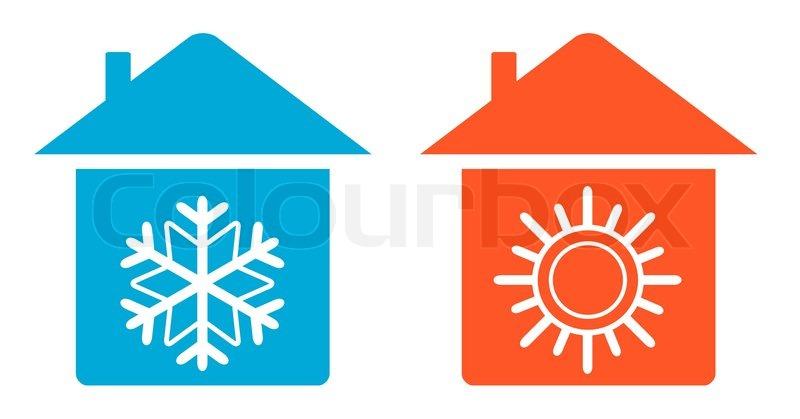 Legen Sie Warme Und Kalte In Home Icon Vektorgrafik