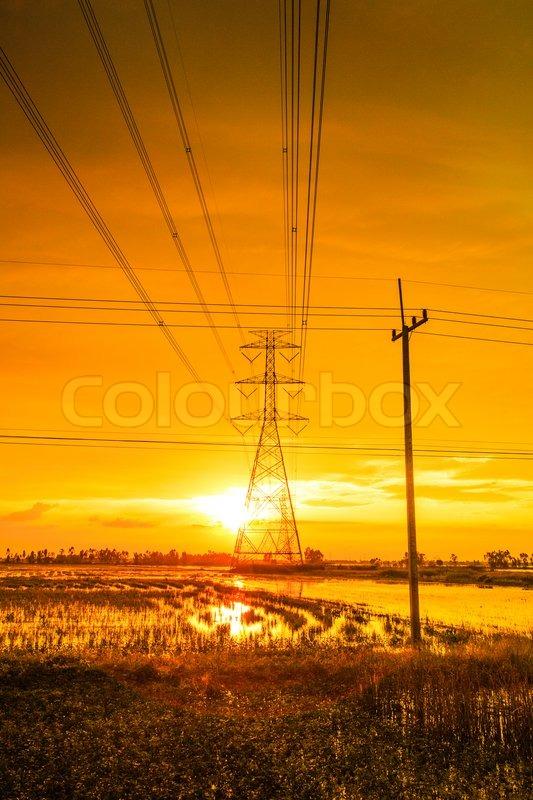 Power tower Light poles, stock photo