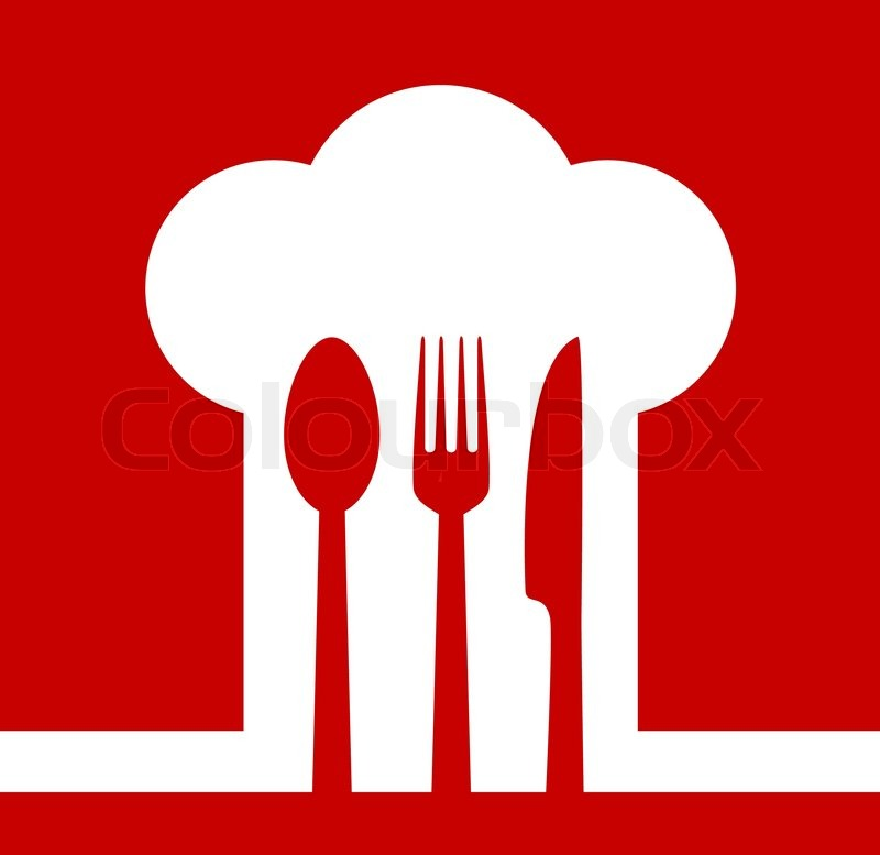 Restaurant icon with chef hat on red background vector colourbox